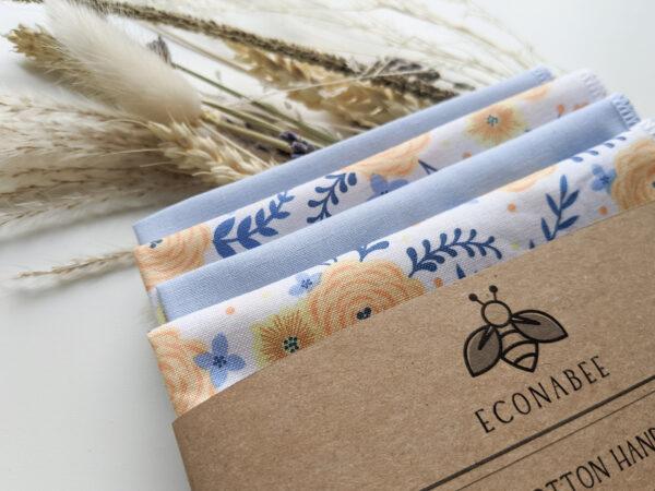 Econabee_floral_bee_autumn_leaves_handkerchiefs_hankies_handkerchief_eco_friendly